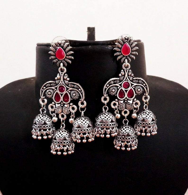 8407c8c9a Navratri Wear Oxidized Jhumka Earrings Indian Traditional   Etsy