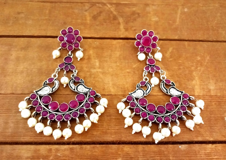 Pink Colored Stone Beaded Peacock Earrings Oxidized Silver Plated Earrings-Designer Afghani Style Earrings-Pearl Beaded Pakistani Earrings