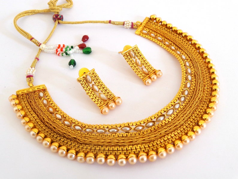 Traditional One Gram Gold Necklace Stone /& Pearl Beaded Jewelry Women Ethnic Fashion Bollywood Style Jewelry Wedding Wear Necklace Set