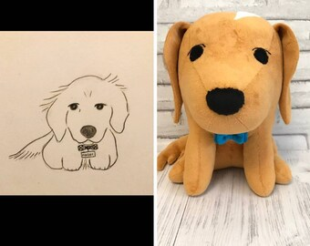 797ba3ea9d99 Custom dog plush commission from drawing golden retriever cartoon version