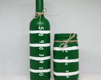 Football Field Mason Jar and Wine Bottle | Football Decor | Party Decorations | Utensil holder