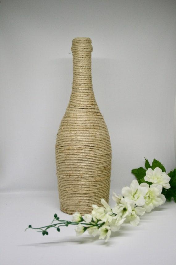 Twine Wrapped Wine Bottle Wedding Centerpiece Flower Vase | Etsy
