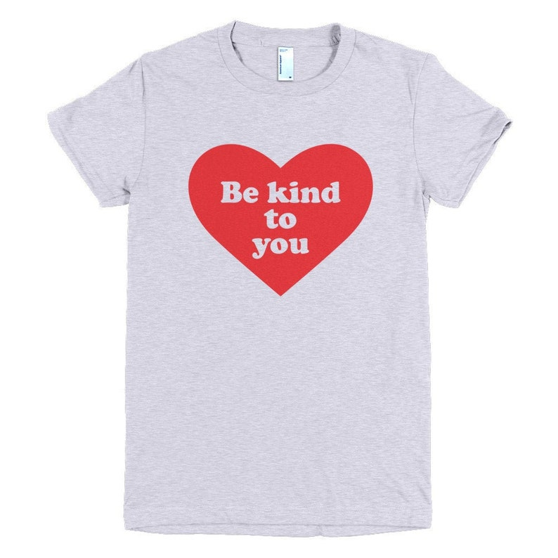 Heart Design Be Kind to You Fitted T-Shirt in Red Grey