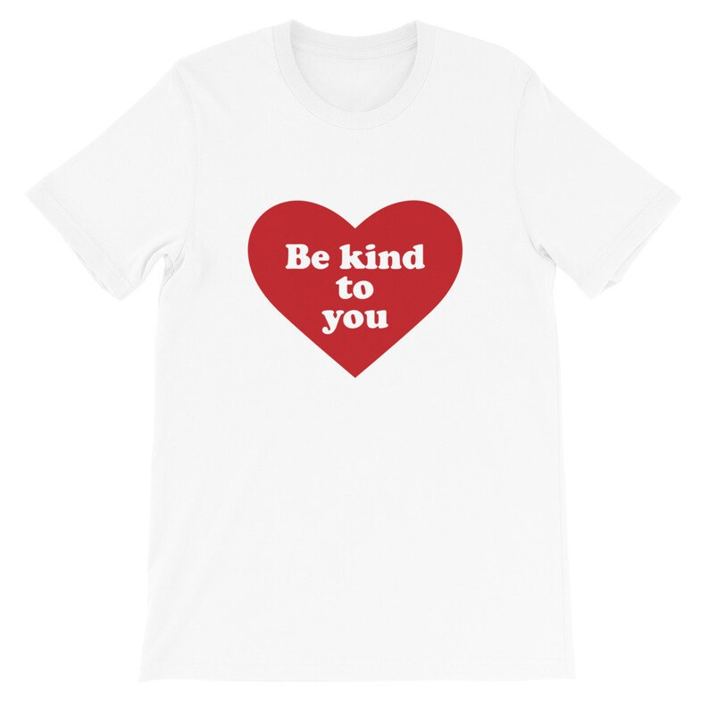 Heart Design Be Kind to You T-Shirt in Red  Self White