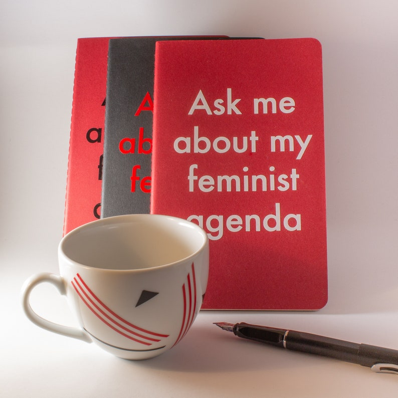 Large Red Ask Me About My Feminist Agenda Notebook image 0