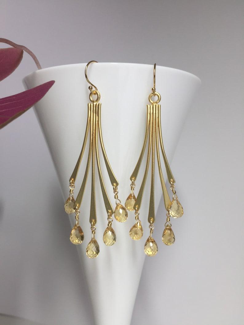 Gift for her Yellow Citrine Earrings November birthstone Jewelry Chandelier  Earrings Evening earrings Gold Bridal earrings