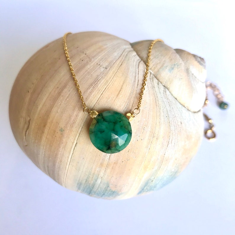May birthstone Gift For Her Raw Emerald  Necklace Natural Gemstone Silver Necklace Natural Emerald Necklace