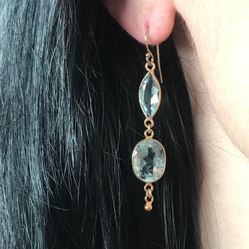 Gold Bridal earrings Natural aquamarine earrings March birthstone Jewelry Blue Aquamarine  Earrings Gift for her Evening earrings
