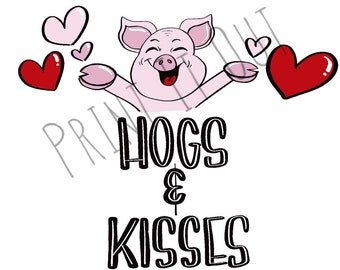 """Hogs and Kisses - 2""""circle or 2x2"""" square cookie tags. Compatible with Avery 22807 & 22806. Printable tags. Instant digital download."""