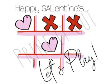 """Happy GALentine's  - 2""""circle or 2x2"""" square cookie tags. Compatible with Avery 22807 & 22806. Printable tags. Instant digital download."""