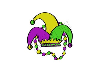 """Mardi Gras Beads - 2""""circle or 2x2"""" square cookie tags. Compatible with Avery 22807 & 22806. Printable tags. Instant digital download."""