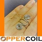 Quantum Orgonite Reiki Fashion Ring.  Golden Ratio, Copper Base, Color: Silver, Adjustable, 16G ...Very unique!