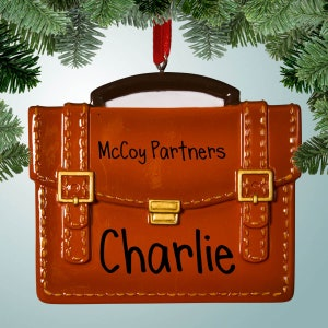 Office Desk First Job- Attorney- Doctor Personalized Briefcase  Christmas Ornament New Job