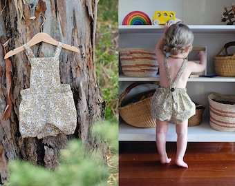 The River Romper + Bloomers Sewing Pattern // sizes 3 months - 5 years // babies + toddlers // downloadable PDF // print at home