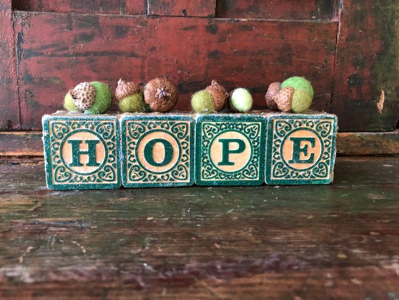 HOPE sign inspirational decoration vintage block art felted acorns.