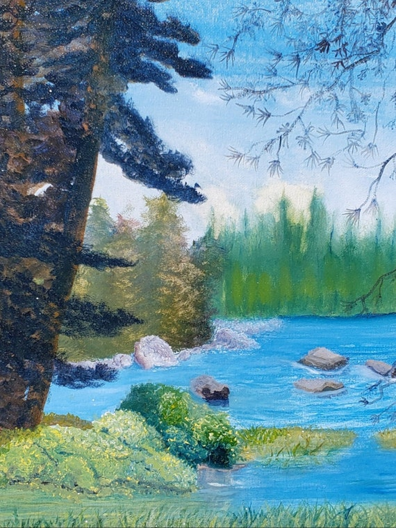 digital download from the original painting of lake alpine california by artist tabitha kremesec