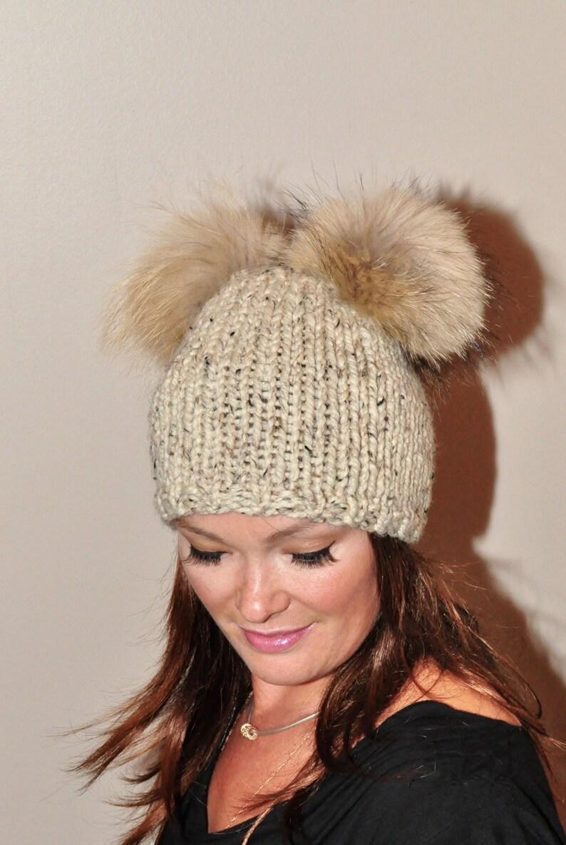 e7f4f2b8ddd Double Pompom Beanie Hat 2 Bobble Hat 2 Fur Pom Pom Beanie Hat
