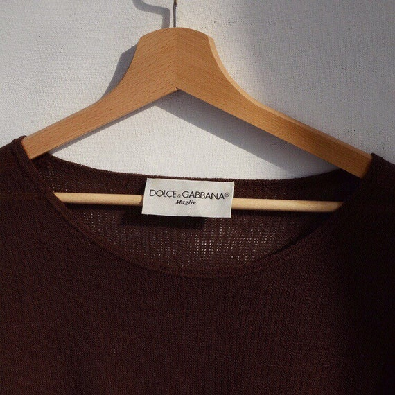 DOLCE&GABBANA crochet vintage tee top blouse brown