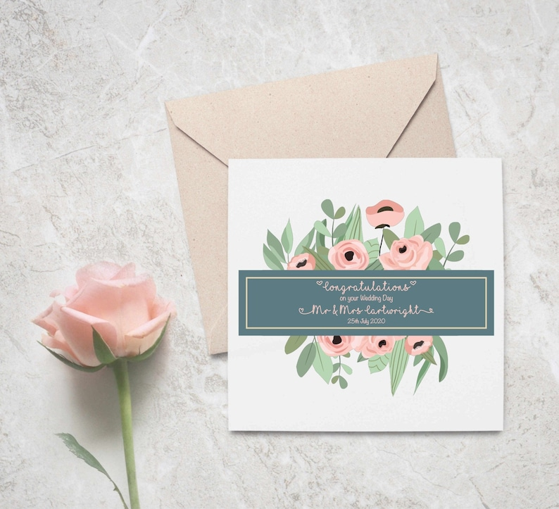 Personalized Floral Wedding Card  Floral Wedding Card  Wedding Day Card  Personalised Card  Wedding  Bride and Groom  Mr and Mrs