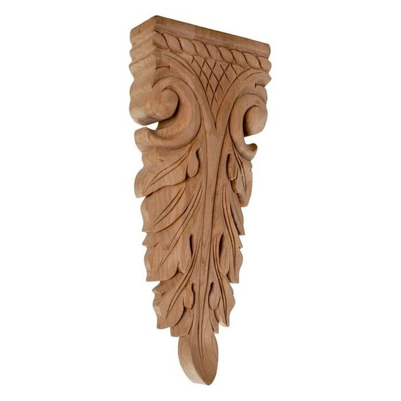 Unfinished Large Hand Carved North American Solid Hard Maple Wood Onlay Rose Wood Applique x 3//4 in 4-7//8 in
