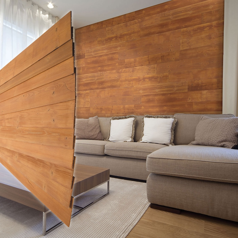 Peel & Stick Pine Wood Wall Planks (10 pack) 18 sq  ft  All Natural Hand  Cut Wood
