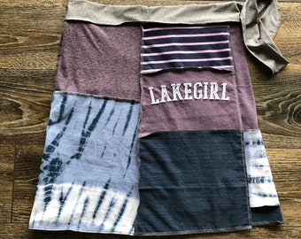 Upcycled Wrap Skirt Junker at Heart earth friendly fashion 23 length recycled t-shirts one size Fits Women/'s XS to L