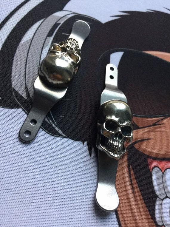 Rick Hinderer XM-18//XM-24 • Raw Titanium Brass SKULL Pocket Clip