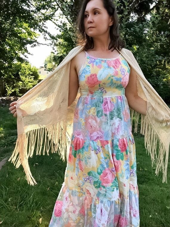 Vintage Floral Maxi Cotton Dress | Summer Sun Dres