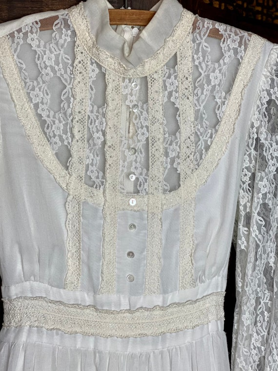 1970s Boho Wedding Dress | Gunne Sax Style | Lace