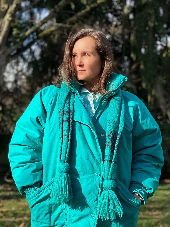 Vintage Scarf Styles -1920s to 1960s 1990S London Fog Winter Parka  Vintage Down Jacket Coat Blue Green Aqua Teal $0.00 AT vintagedancer.com