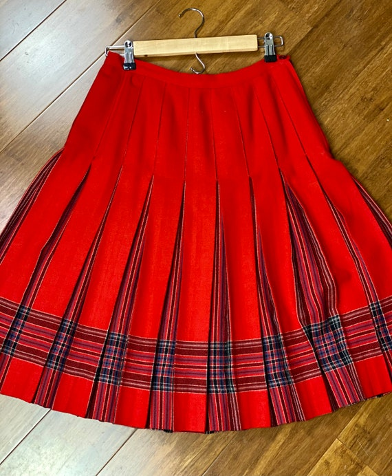 Vintage Wool Classic Red Plaid Midi Skirt | Vintag