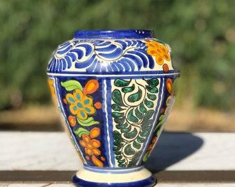 Vintage Talavera Mexican Pottery Vase   Majolica   Venegas   Mexican Decor   Hand Painted   Mexico Folk Art
