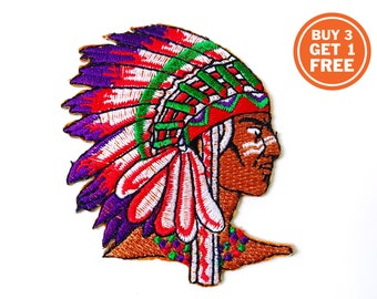 Ecusson chef indien 9 cm thermocollant iron on embroidered indian chief patch