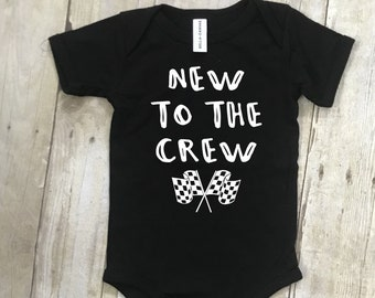 c10feb14d5ada New to the Crew - Infant Bodysuit - Dirt Track Racing - Dirt Track Kids -  Kids Race Shirts - Dirt Track Baby - Baby Race Clothing - Pit Crew