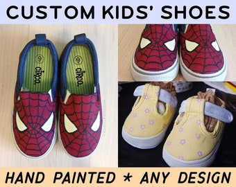 15535e23f218 Custom Kids  Shoes - Hand Painted - Any Design - Wearable Washable