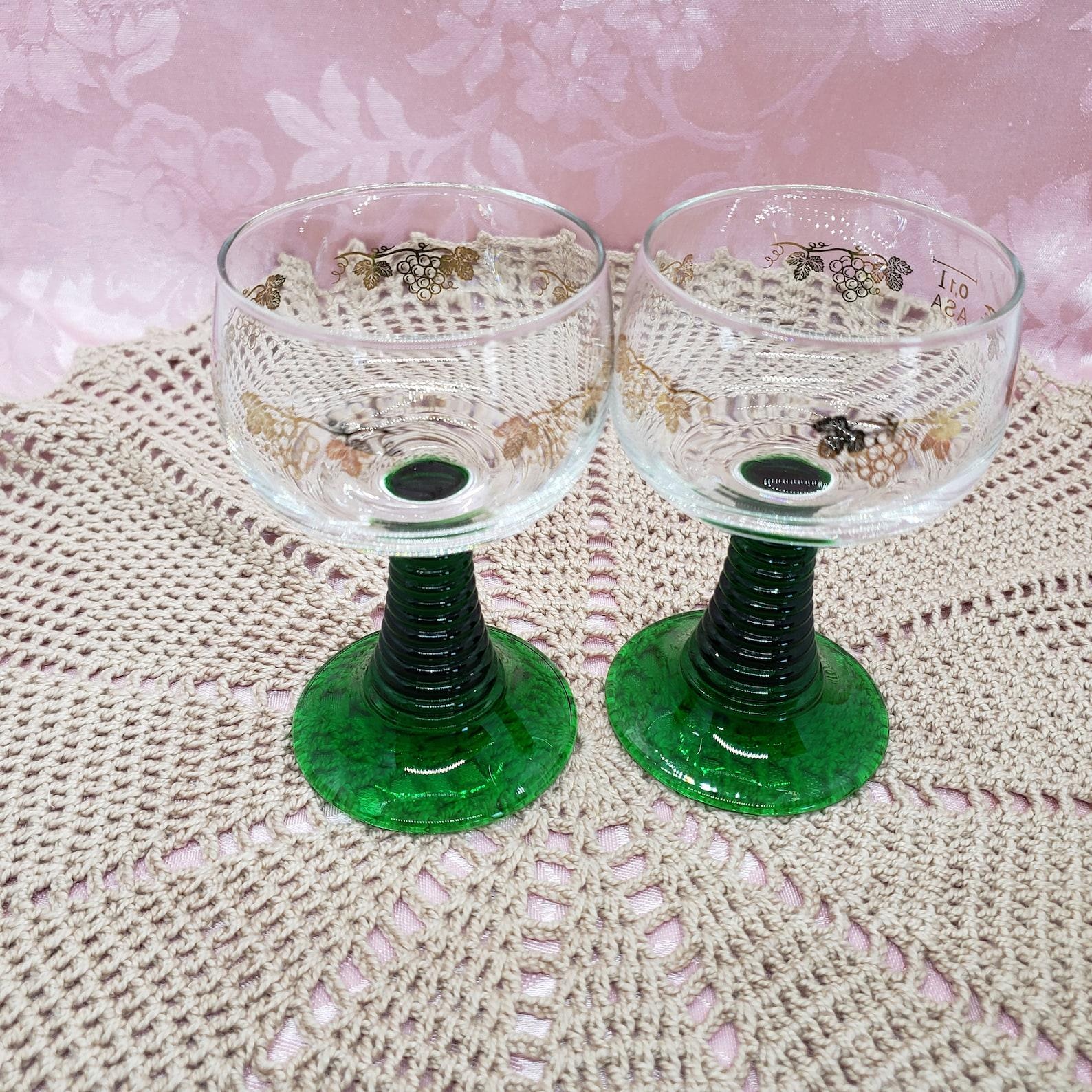 Roemer/Römer German Wine Glass Set 2, Gold vine pattern