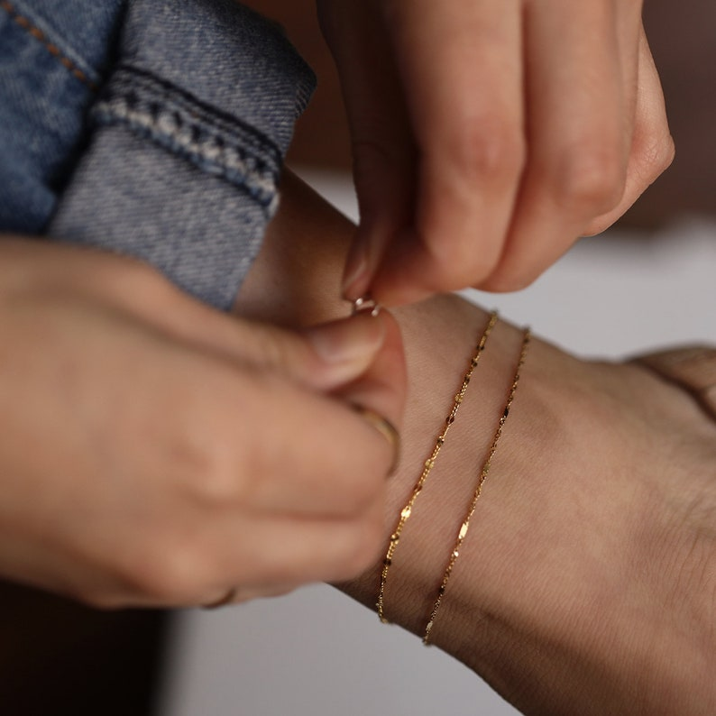 14K Solid Gold Anklet Gold Chain Anklet Layering Jewelry Singapore Chain with Bar Detail Simple Chain Anklet