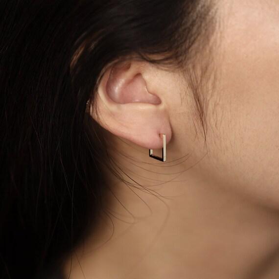 Square Huggie Earrings / 12mm Hoop Earrings / Square Hoop Earrings / Simple Gold Square Huggie Hoop Earrings / 2 pcs