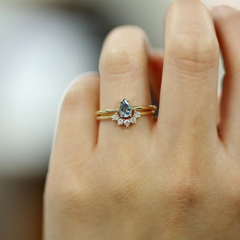 14k Aquamarine Band Aquamarine Solitaire Ring Aquamarine Ring 14K Solid Gold Ring Teardrop Aquamarine Solitaire Ring Minimalist Ring