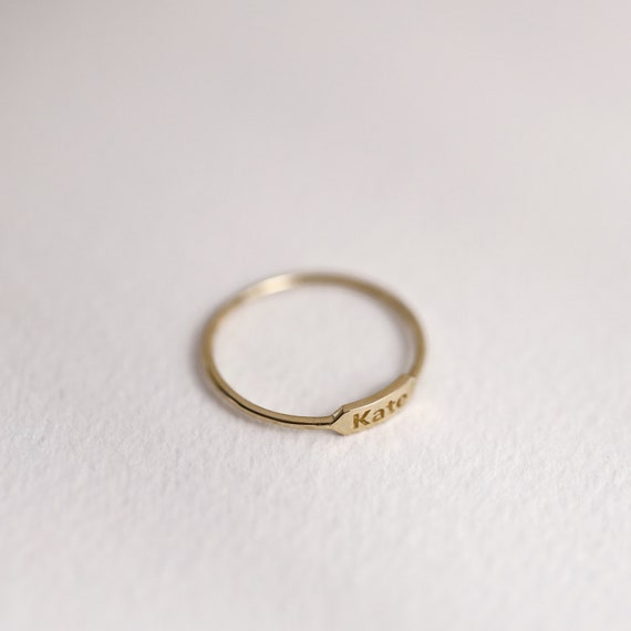 10K 14K Personalized Monogram Name Plate Ring Band