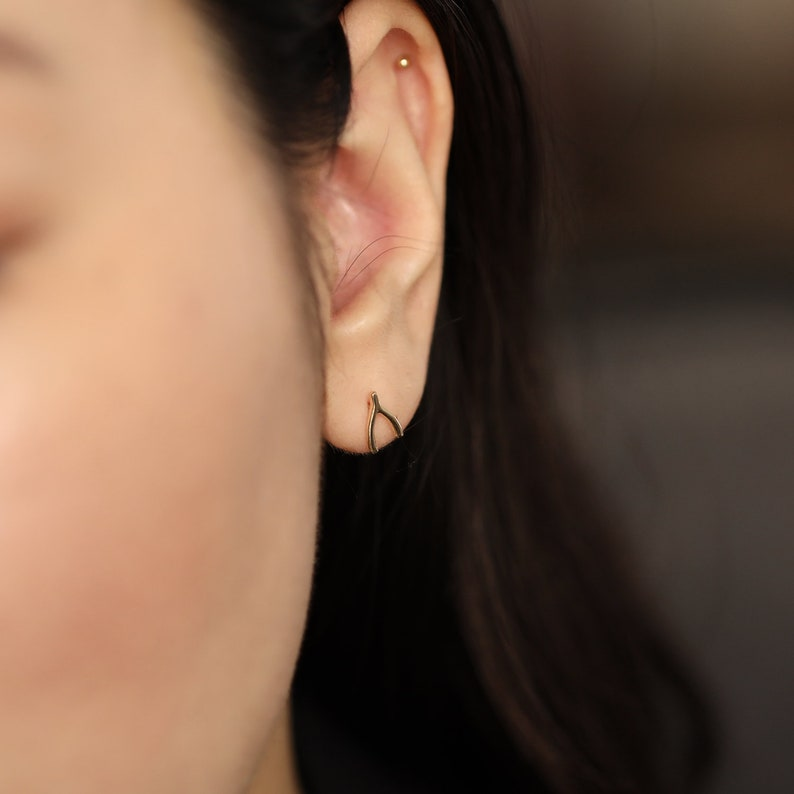 Dainty Wishbone Earrings Wishbone Studs 14k Gold Personalized Jewelry 14K Solid Gold Studs Gifts for Her Solid Gold Earrings