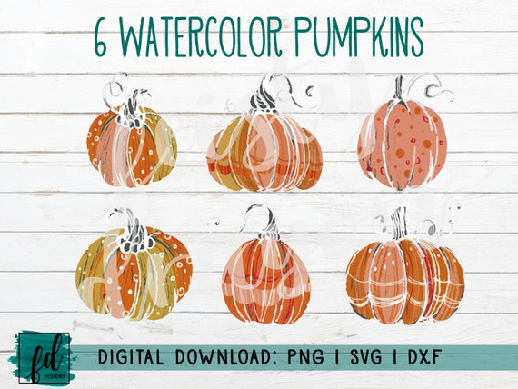 Watercolor Pumpkin Set Of 6 Fall Autumn Spice Png Etsy