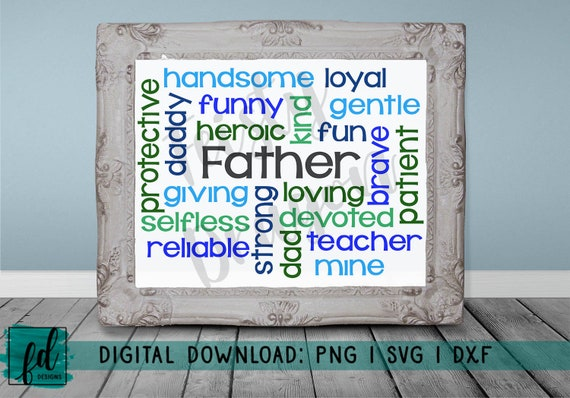 Father Typography Word Cloud Printable Daddy Png Svg Etsy