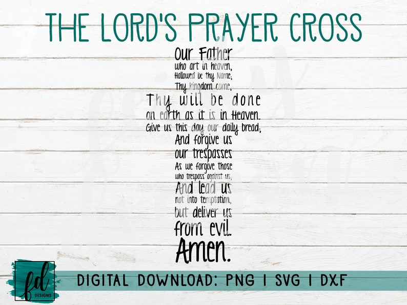 graphic about Printable Lord's Prayer titled Lords Prayer Non secular Printable Bible Easter PNG SVG DXF  Silhouette or Cricut Cutfile Immediate Obtain Electronic Down load