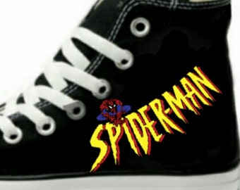 285647e530ed Spider-Man Fan Art Hand Painted Converse All Star HiTop Sneakers Black M+W  Sizes Canvas