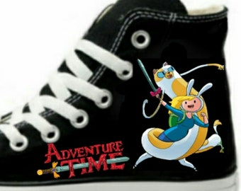 3b41a5e0a4a3 Cake   Fionna Adventure Time Fan Art Hand Painted Converse All Star Hi Top  Sneakers Black M+W Sizes Canvas
