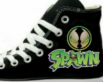 d5dc3927674a Spawn Fan Art Hand Painted Converse All Star HiTop Sneakers Black M+W Sizes  Canvas