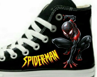 cde93feb51fc Spider-Man Miles Morales Fan Art Hand Painted Converse All Star HiTop  Sneakers Black M+W Sizes Canvas