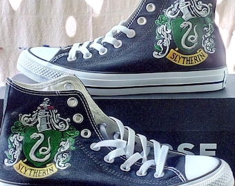 52ed68abe97044 Hogwarts Slytherin Crest Fan Art Hand Painted Converse All Star Hi Top  Sneakers Black Many Sizes Canvas