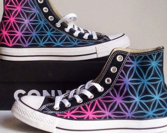 bd4dace16cfa Ice - Water Theme Flower of Life Hand Painted Converse All Star Hi Top  Sneakers Black M+W Sizes Canvas